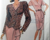 Vogue 7822 Mock Wrap Dress Jacket Top Skirt Sewing Pattern Bust 31 to 34