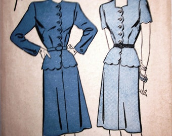 Advance 4146 Womens 40s Jacket Skirt Dress Suit Sewing Pattern Bust 30