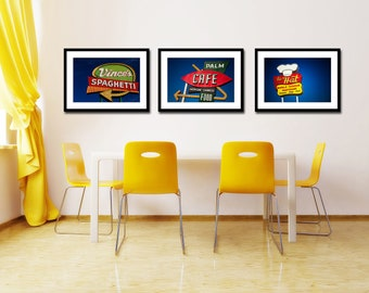 Chow Time Set of Vintage Los Angeles Restaurant Signs - Vintage Kitche Decor - Diner Art - Save 10-20% on Three Fine Art Photographs