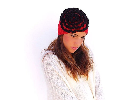 Crochet  Red Beanie, Hat, adult  youth, black ruffles, gift ideas for her