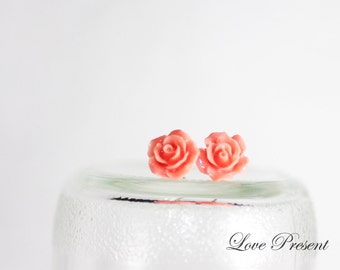 Christmas Gift Cutie Petite Rose Stud Earrings Post - Everyday Jewellery - Choose your color