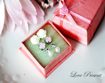 For Her gift ideas -  Swarovski Crystal/ Petite Rose/ Pearl Post studs Earrings set - Choose your color
