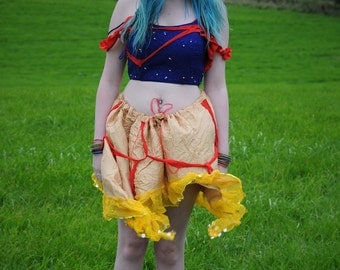 Adult Snow White costume, Cosplay luxury tattered silk fairytale top and skirt, Blue & yellow zombie Disney princess dress
