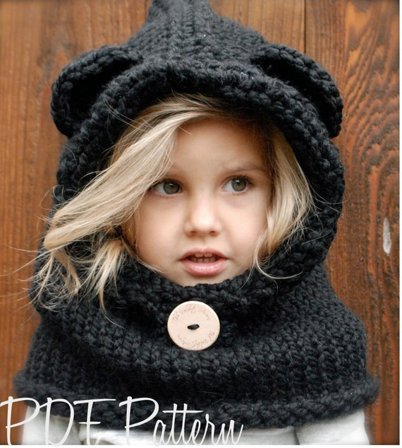Knitting Pattern Bear Hoodie : KNITTING PATTERN Burton Bear Cowl 6/9 month 12/18 month