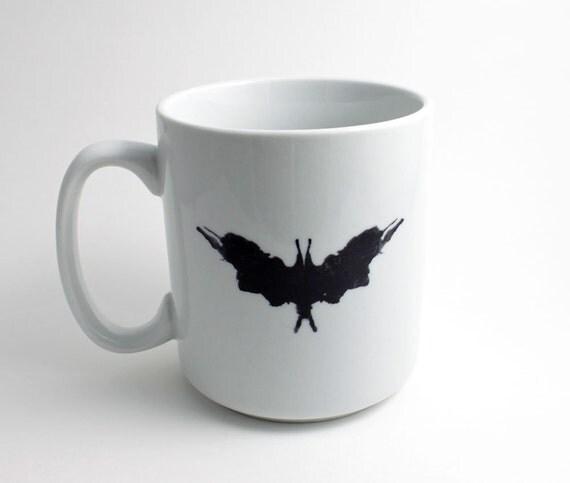 Psychiatrist Ink Blot Coffee Mug - Rorschach Test in Black and White