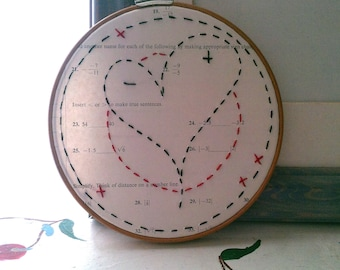 EMBROIDERY WALL HANGING Math Nerd Geekery Vintage Upcycle