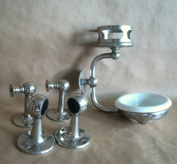 antique collection of nickel plated bath by vintagehomeshop