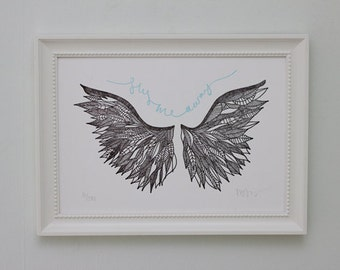 SALE >> Limited Edition Letterpress Illustration: Fly Me Away