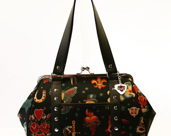 Black Tattoo Handbag with Your Choice of Vinyl Trim, Rockabilly - MADE TO ORDER
