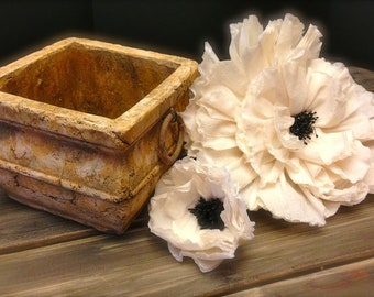 Square Vintage Shabby Chic Wedding Vase / Urn