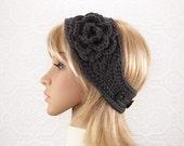 Crochet headband, boho head wrap, ear warmer with flower - graphite gray - Winter Fashion Accessories by Sandy Coastal Designs made to order