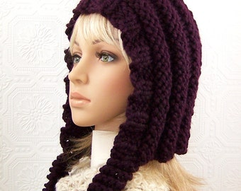 Pixie hat - hand knit hat - eggplant purple - winter accessories - ready to ship - handmade  by Sandy Coastal Designs
