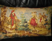 Renaissance Toile Pillow Cover 14x22.   Beige and Red  ladies'portrait  on fabric.