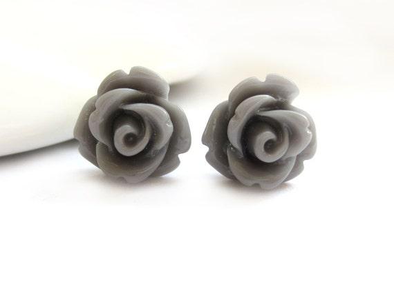 Grey Rose Stud Earrings
