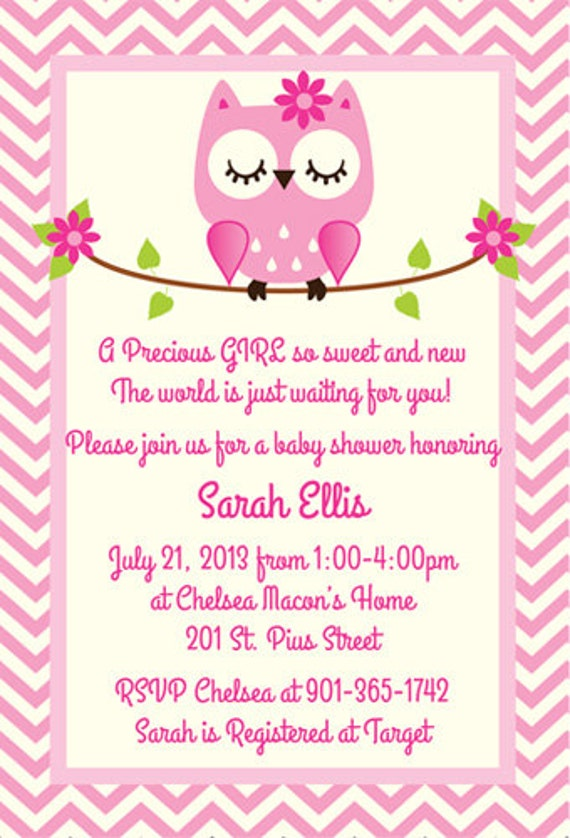 items similar to pink owl baby shower invitation on etsy