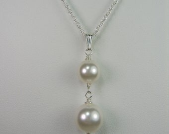 Drop Pearl Necklace Pearl Bridal Necklace Bridesmaid Necklace Pearl Bridal Jewelry Bridesmaid Jewelry Classic Pearl Wedding Jewelry