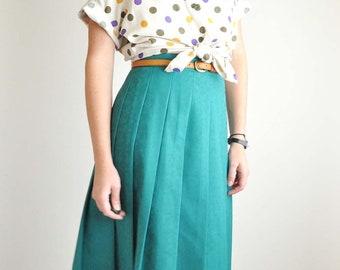 Teal Pleated Vintage Skirt