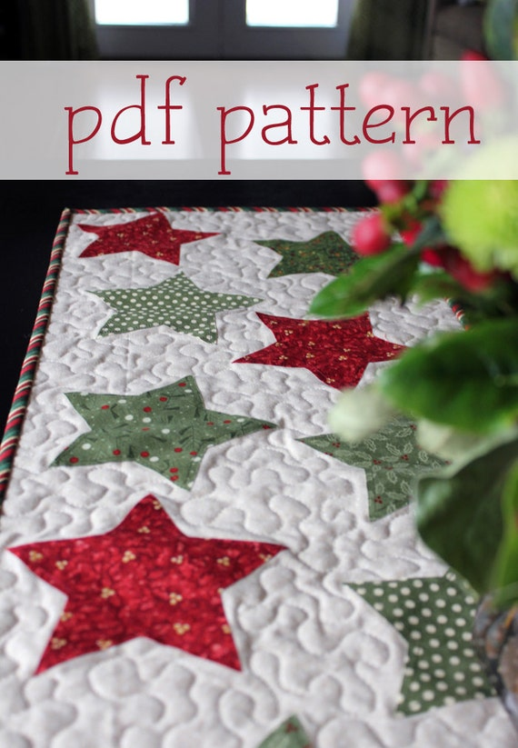 Christmas star table runner pattern pdf by abrightcorner for Instructions to make christmas table decorations