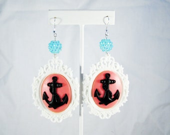 Nautical Glam Pink Anchor Cameo Earrings