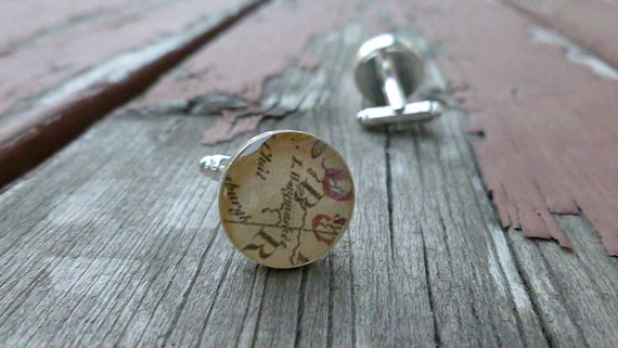 Vintage Map Resin Cuff Links (Cufflinks) Silver Plated