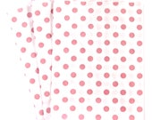 50% OFF CLEARANCE SALE - 15 Light Rose Pink Polka Dot Large Treat Bags (Treat Bags, Favor Bags, Gift Wrap, Envelopes) - 6.25 x 9.25 inches