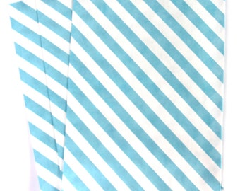CLEARANCE SALE - 25 Aqua Blue Stripe Large Treat Bags (Treat Bags, Favor Bags, Gift Wrap, Envelopes) - 6.25 x 9.25 inches