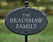 HOUSE NAME PLAQUE w/ Lawn Stake / Carved Slate/ Stone Marker /Custom Sign / Cottage #E-8s