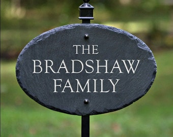 HOUSE NAME PLAQUE / Lawn Stake / Carved Slate/ Stone Marker /Sign / Cottage #E-8s
