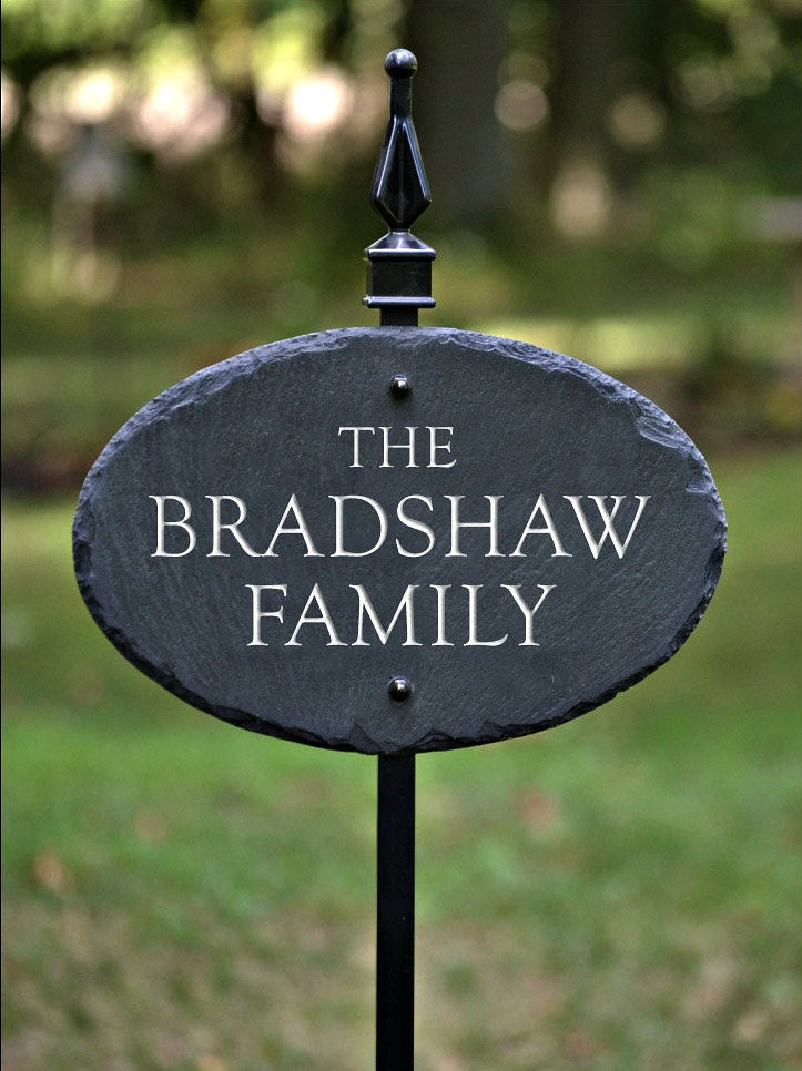 house name plaque lawn stake carved slate stone marker