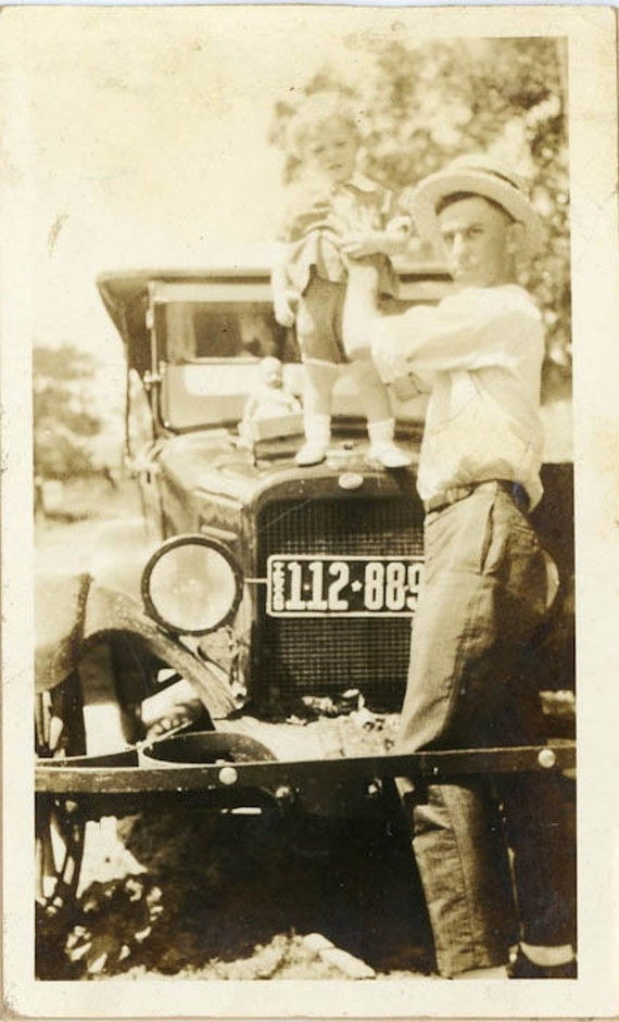 """1922 Vintage Photo """"Summer Memories With Dad"""", Photography, Paper Ephemera, Snapshot, Old Photo, Collectibles - 0006"""