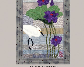"""Lotus Life - 21"""" x 14"""" art quilt pattern for any level fiber artist or quilter, with full-size pattern and complete instructions"""