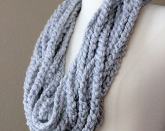 Silver Gray Crochet Necklace Cowl Scarf, Strand Cowl, Fiber Necklace, Crochet Scarf, Crochet Infinity Scarf, Chunky Necklace, Ready to Ship