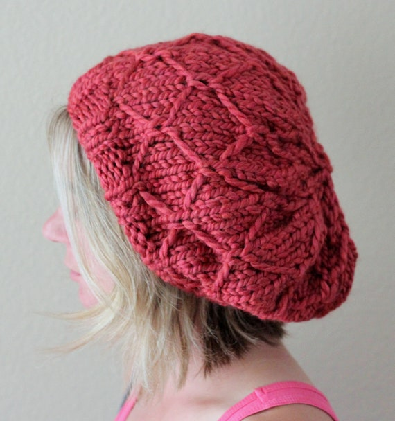 Barn Red Chunky Hat with Diamond Pattern - Ready to Ship