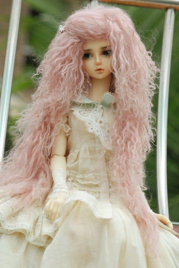 "10in"" Pink Wavy Wig for Volks BJD SD Dolls"