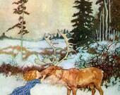 Reindeer Girl Card - Hans Andersen Fairy Tale - Christmas Greeting Card