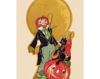 Halloween Card - Pumpkin Head Scarecrow with Cat Plays Banjo Greeting Card
