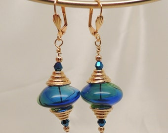 Blue and Green Glass Saucer Earrings