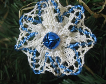 Vintage Blue Ornaments, Cotton Trim Tree Ornaments, Christmas Decoration, Handmade Ornaments, Christmas Tree, Holiday Ornaments