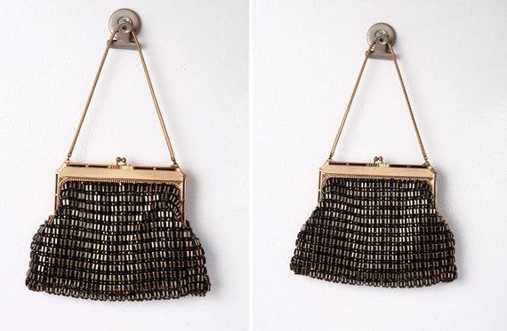Rare 1950s Whiting & Davis Gold on Black Mesh Handbag PRICE REDUCTION