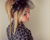 Raving Beauty - Black Lily Flower and Feather Fascinator  Headband Las Vegas Wedding Veil