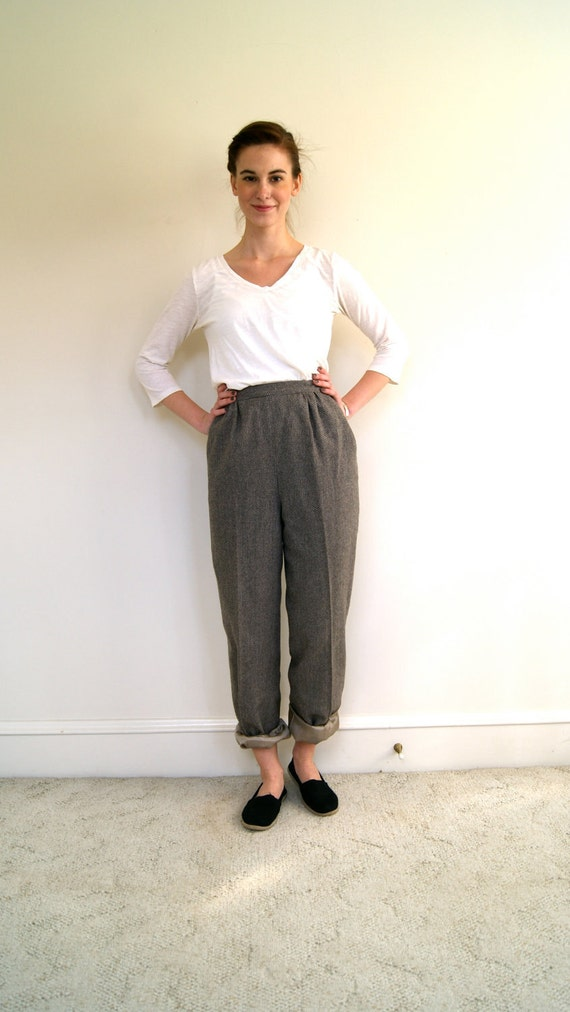 RESERVED. 1970s / 70s High Waist Brown Trousers. Medium.