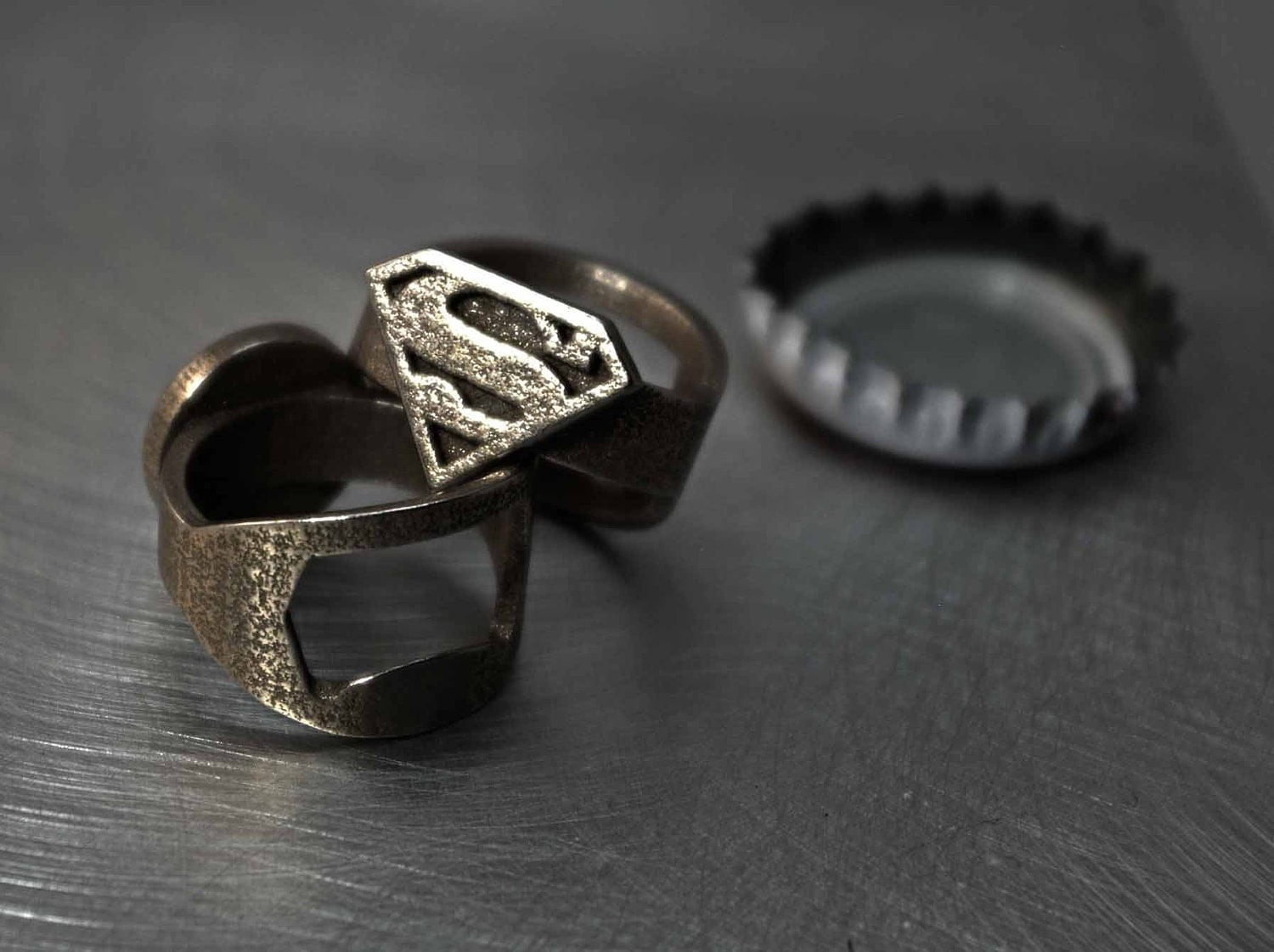 superman ring bottle opener band or regular comic by niquegeek. Black Bedroom Furniture Sets. Home Design Ideas