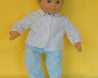 15 inch Doll Clothes American Girl Bitty Twin - Blue Polka Dot PJ's