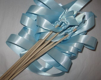 Tie the Knot - Satin Wedding Ribbon Wands - Custom Colors - Pack of 50 - Shown in LIGHT BLUE