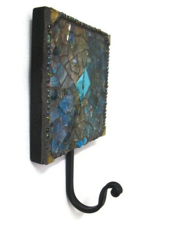 Reserved for Maya Key Holder Mosaic Wall Hook Hanger Metal Bathroom Bedroom Laundry Nursery Gold Turquoise glass decoupage iridescent beads