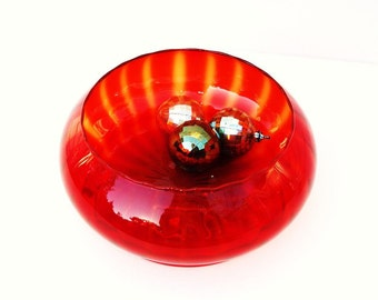 Vintage Amberina, Art Glass, Red Glass Bowl, Glass Compote, Hand Blown Vase