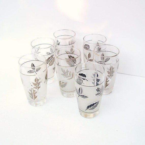 Vintage Frosted Glass Tumblers Drinking Glasses Libbey Glassware Mid Century Barware Fall Foliage Set of 7