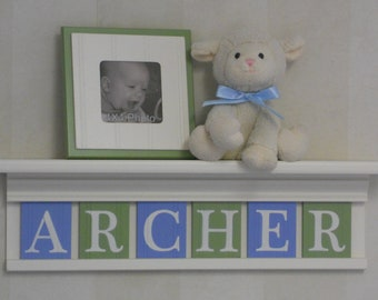 "Blue and Green Sign Personalized Children Nursery Decor 24"" Linen (Off White) Shelf 6 Wooden Wall Letters - ARCHER"