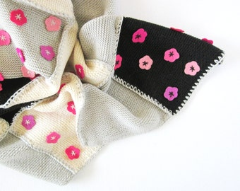 Knitted Patchwork Baby Blanket, pink gray black. 100% wool.
