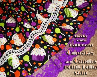 Spooky Cute Cupcakes and Candies Gothic Lolita Skirt
